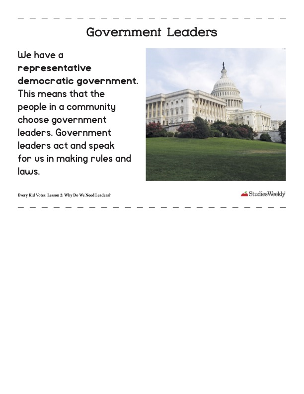 Studies Weekly Government Leaders article