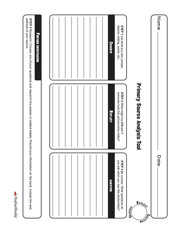 Primary Analysis Graphic Organizer
