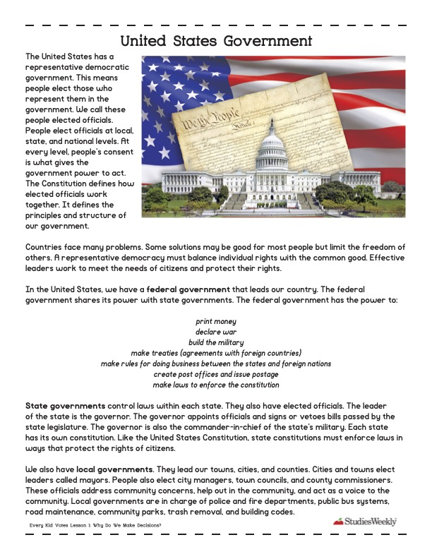 United States government studies weekly graphic organizer
