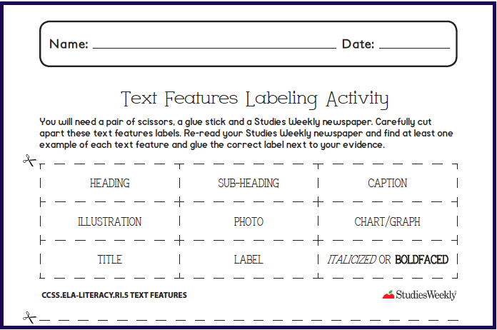 Text Features Labeling Activity Graphic Organizer