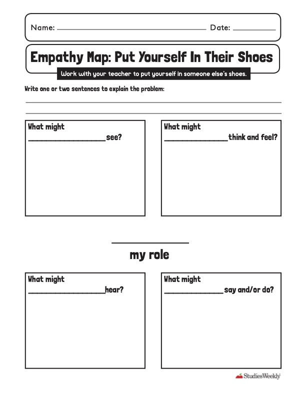 Empathy map graphic organizer studies weekly for social-emotional learning