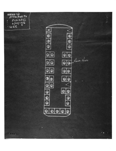 Diagram showing where Rosa Parks was sitting before being arrested