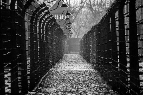 Oswiecim, Poland – March 28, 2016: Electrical fences of Auschwitz