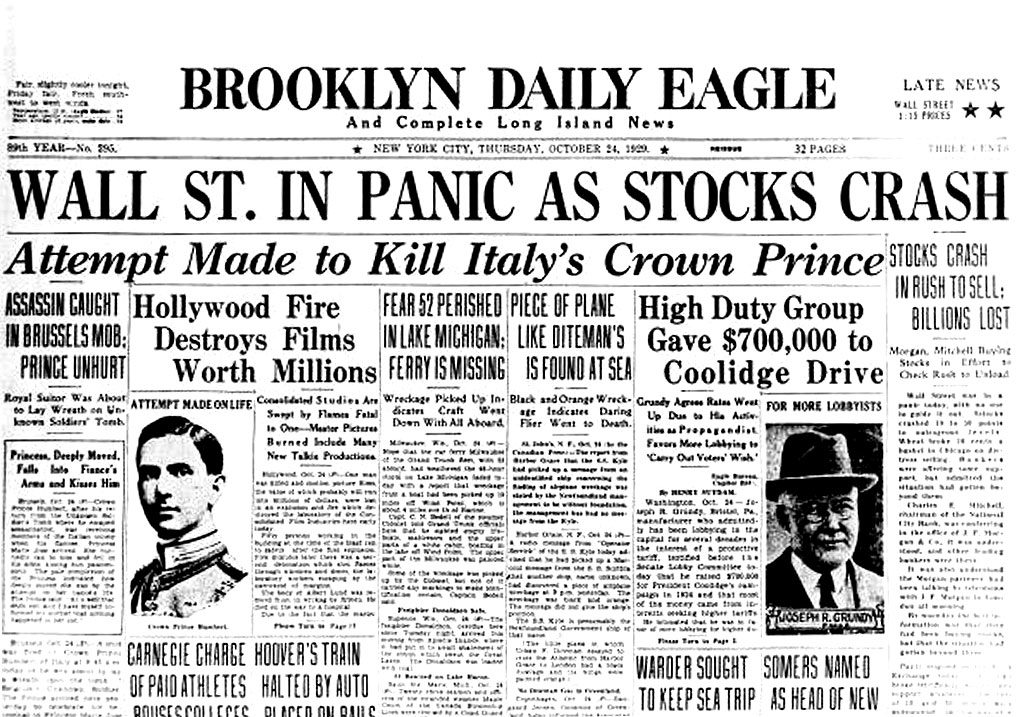 Brooklyn Daily Eagle reports the 1929 Stock Market Crash