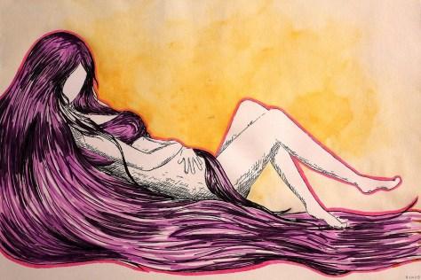 Nobody knows Dessins issus d'un livre illustré, accompagnés d'haïku Aquarelle et encre