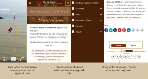 Screen du site mobile Studinano