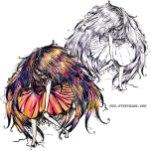 Faceless Girl is floating (couleur+N&B)
