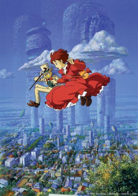 En écrivant son roman, Shizuku s'imagine en train de vivre toutes sortes d'aventures aux côtés du Baron dans un monde onirique. (Si tu tends l'oreille, 1990)
