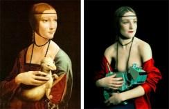 Dame à l'hermine de Léonard De Vinci et Lady's Portrait With Dog de Mariano Vargas