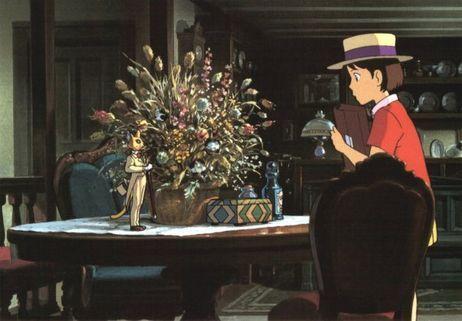 Shizuku, l'héroïne du film, découvre le Baron. (Si tu tends l'oreille, 1990)
