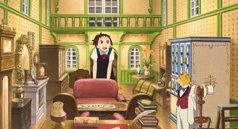 Haru, l'héroïque du film, découvre avec stupeur la maison du Baron. Et elle y est un peu à l'étroit. (Le Royaume des chats, 2002)