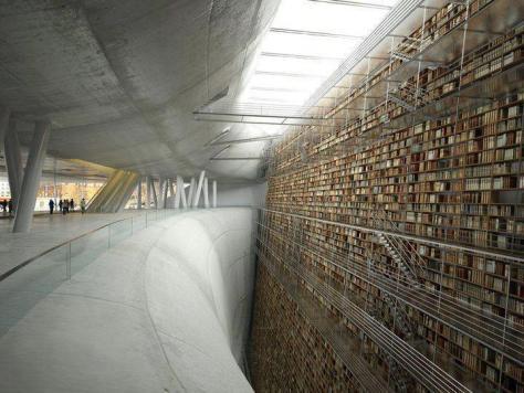 Ce projet virtuel réalisé dans le cadre du concours International de la bibliotheque de Stockholm par l'Agence D3 architectes, a de faux airs de bibliothèque infinie. Non ?