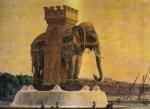 La fontaine de l'éléphant, projet d'Alavoine (vers 1813-1814). Vue exposée au Salon de 1814, chromolithographie Paris, musée Carnavalet.