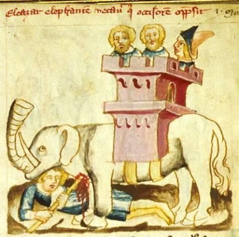 Représentation médiévale d'un éléphant de guerre (enluminure du XIVe siècle).