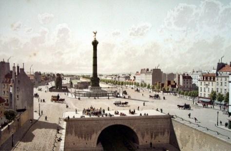 Autre vue de l'éléphant de la Bastille,  près de la Colonne de Juillet.  (je n'ai pas pu trouver de qui était cette image, ni de quand elle datait exactement, mais il pourrait s'agir d'une gravure de Fedor Hoffbauer).