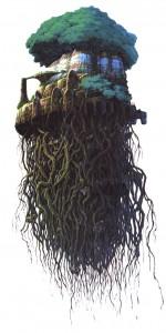 A la fin du film d'animation Le Château dans le ciel de Hayao Miyazaki, le château n'est finalement plus qu'un immense arbre volant.