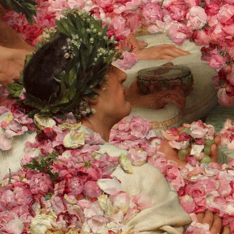 Cet homme regarde l'Empereur. Même s'il nous tourne presque entièrement le dos, on peut voir qu'il tient une poignée de raisins recouverts de pétales de roses, dans un geste qui semble interroger l'Empereur. Il semble vouloir lui dire que cela commence quand même à faire beaucoup de fleurs...