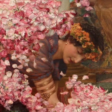 Avec son air tranquille, cette femme ne semble pas du tout s'inquiéter de la vague de pétales de fleurs qui vient s'écraser sur elle et ses voisins. Elle semble se redresser tranquillement.