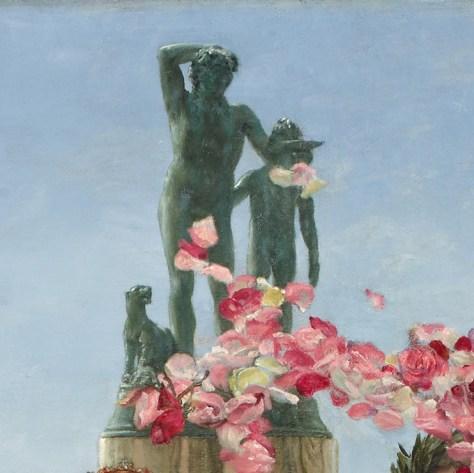 Détail de la statue de Dionysos dans le tableau de Lawrence Alma-Tadema.