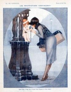 """Illustration de Jean Tam, 1918, """"Les restrictions continuent"""" montre une femme s'abreuvant à une Fontaine Wallace avec l'aide d'un angelot."""