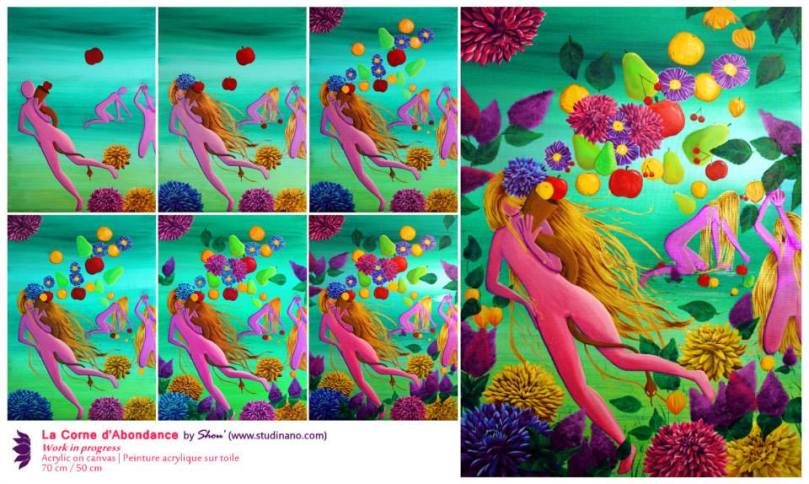 La Corne d'Abondance Peinture acrylique sur toile   Acrylic on canvas 70 cm x 50 cm