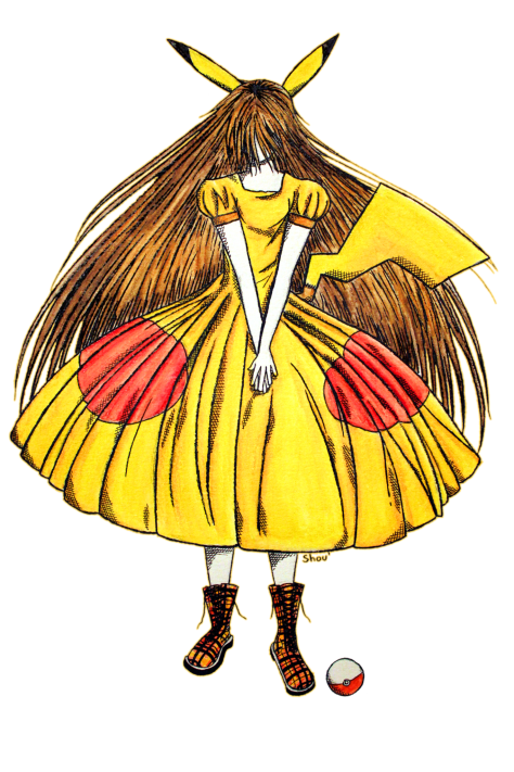 Lady Pikachu (fanart inspiré par le Pokémon... Pikachu !) Aquarelle et encre sur papier Canson, 2012
