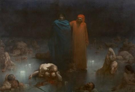 """Dante et Virgile dans le 9e cercle de l'Enfer, Gustave Doré, 1861 312 x 450 cm """"D'après """"l'Enfer"""" de Dante que Doré a illustré. Arrivés dans le neuvième cercle de l'Enfer, Dante (vêtu de rouge, symbole du mortel ) et Virgile (drapé de bleu), comparables à deux statues monumentales, contemplent les traîtres condamnés à la glace éternelle. Au premier plan, deux frères : Alessandro, appartenant l'un au parti guelfe et Napoleone, au parti gibelin s'entretuent. Après ce premier cercle des traîtres envers leur parent, celui des traîtres envers la patrie, incarnés par Ugolin qui dévore le crâne de l'archevêque Ruggieri. Filet de sang qui ruisselle dans un souci de réalisme. La lumière se répartit sur les morceaux de glace tandis que les corps et regards sont pétrifiés par la glace."""" (Source : Joconde, Portail des collections des musées de France http://www.culture.gouv.fr/public/mistral/joconde_fr?ACTION=RETROUVER&NUMBER=1&GRP=0&SPEC=9&REQ=%28%28%27982.234%27%29+%3AINV+%29)"""