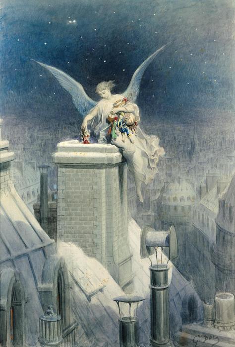 Gustave Doré (1832-1883), La nuit de Noël, Non datée Aquarelle et rehauts de gouache, sur traits de crayon, 75 × 51,5 cm Paris, musée d'Orsay