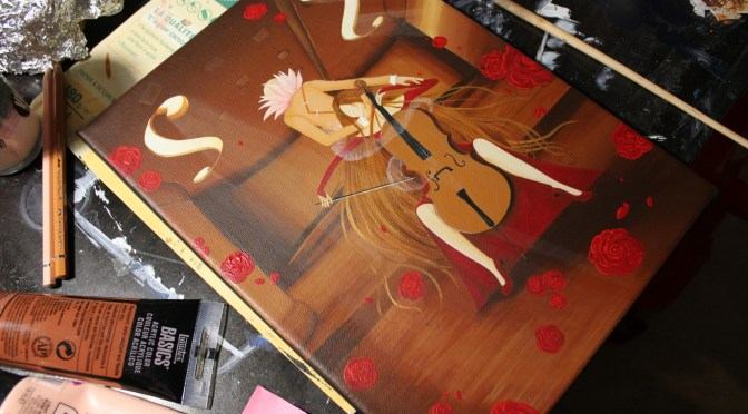 [Work in Progress] Peinture : La Violoncelliste
