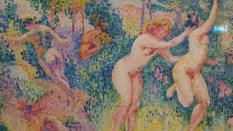 La Fuite des nymphes Henri-Edmond Cross (1856-1910) Vers 1906 Huile sur toile Paris, Musée d'Orsay Don de la comtesse de Vitali en souvenir de son frère le vicomte Guy Cholet, 1923 Pour cet homme du Nord - Cross est né à Douai -, la Méditerranée est une Arcadie moderne, un pays éternel, saturé de couleurs où l'Antiquité semble encore vivante, ici sous la forme d'un joyeux ballet de nymphes. Installé à Saint-Clair, près du Lavandou, Cross est d'abord inspiré par le divisionnisme de son ami Paul Signac puis se rapproche d'Henri Matisse et des Fauves.