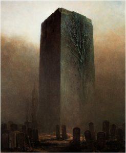 Dans cette peinture, ne croirait-on pas reconnaître le Grand Monolithe Noir de 2001, l'Odyssée de l'Espace ?