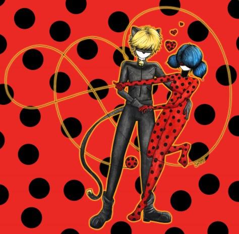 Ladybug et Chat Noir (Fanart de Miraculous Ladybug), Aquarelle et encre sur papier Canson, 2018