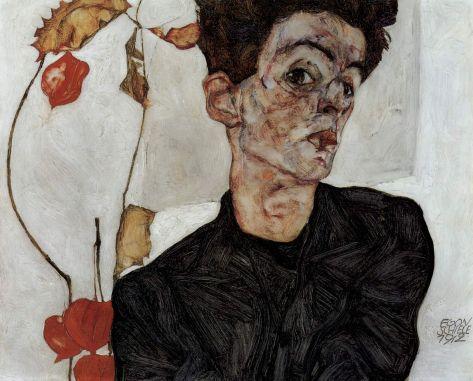 Egon Schiele, Autoportrait aux physalis, huile et gouache sur panneau de bois, 32,2 × 39,8 cm, 1912, Leopold Museum, Vienne.
