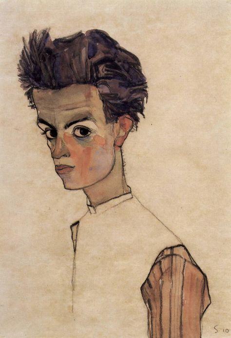 Egon Schiele, Autoportrait avec chemise rayée, huile et gouache sur toile, 44 × 30,5 cm, 1910, Leopold Museum, Vienne.