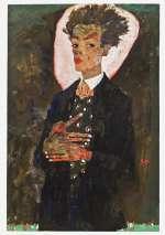 Egon Schiele, Autoportrait debout avec un gilet au motif paon, Huile sur toile, 1911, Collection Ernest Ploil, Vienne.