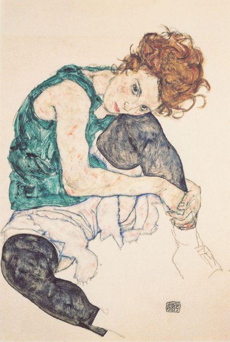 Egon Schiele, Femme assise genoux pliés, Crayon, aquarelle, gouache, 46 x 30,5 cm, 1917, Galerie nationale de Prague.