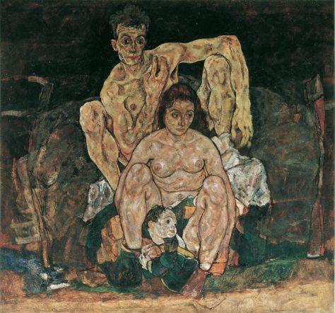 Egon Schiele, La Famille, huile sur toile, 1918, 150 x 160,8 cm, Österreichische Galerie Belvedere, Vienne.
