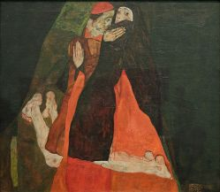 Egon Schiele, Le Cardinal et la Nonne, huile sur panneau de bois, 1912, Leopold Museum, Vienne.