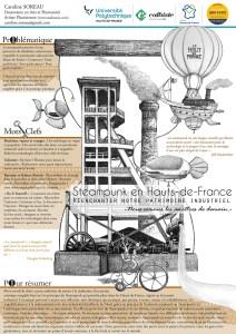 """""""Steampunk en Hauts-de-France : Réenchanter notre patrimoine industriel"""", Poster réalisé pour le Mardi des Chercheurs, U-Mons, 2019."""