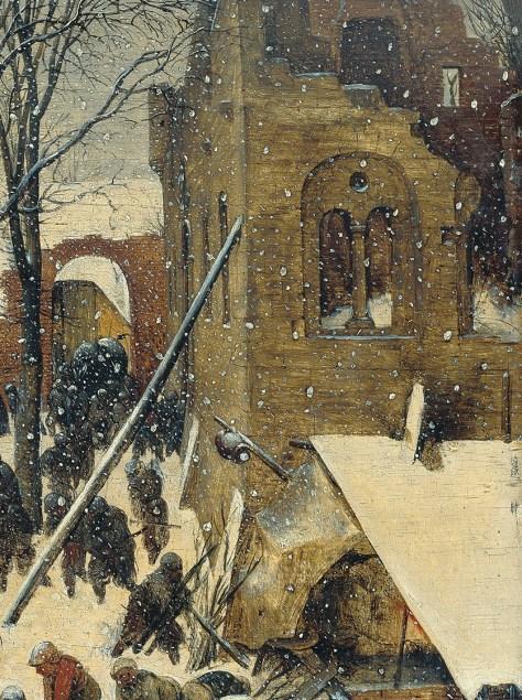 Détail : une église semble être en ruines. Pieter Bruegel l'Ancien, L'Adoration des Mages dans un paysage de neige (ou dans un paysage d'hiver), Huile sur bois, 35 x 55 cm, 1563, Am Römerholz, Suisse.