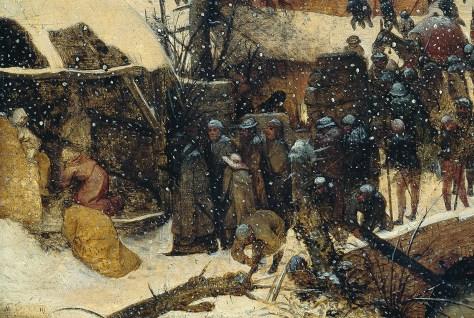 Détail : les Rois Mages viennent visiter la Sainte Vierge. Pieter Bruegel l'Ancien, L'Adoration des Mages dans un paysage de neige (ou dans un paysage d'hiver), Huile sur bois, 35 x 55 cm, 1563, Am Römerholz, Suisse.