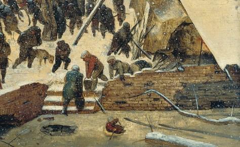 Détail : habitants tirant de l'eau depuis un trou dans la glace. Un enfant faisant de la luge tandis que sa mère semble lui crier de revenir à elle. Pieter Bruegel l'Ancien, L'Adoration des Mages dans un paysage de neige (ou dans un paysage d'hiver), Huile sur bois, 35 x 55 cm, 1563, Am Römerholz, Suisse.
