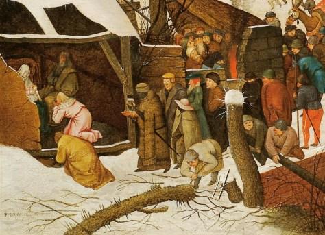 Détail : Adoration des Mages par Bruegel le Jeune. Pieter Bruegel le Jeune, L'Adoration des Mages dans un paysage de neige (ou dans un paysage d'hiver), Huile sur bois, 36 x 57 cm, n.d., Collection particulière, France.