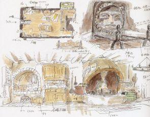 Aperçu de la cuisine et de la cheminée du Château Ambulant. (Croquis préparatoire)