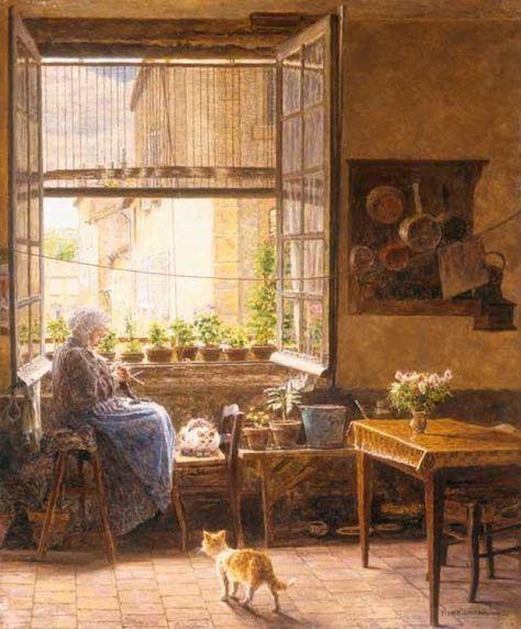 François-Marie Firmin-Girard, Femme âgée près de la fenêtre (ou Une après-midi tranquille), Huile sur toile, v.1917, Collection particulière.