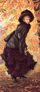 """James Tissot, October (Octobre), Huile sur toile, 216,5 x 108,7 cm, 1877, Musée des Beaux-Arts, Montréal. """"Octobre"""" est une des plus célèbres peintures de James Tissot. On y voit Kathleen Newton, sa compagne, dans une superbe robe noire, qui tranche sur le fond orangé par les feuilles d'automne."""