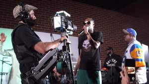 Dylan with ursa on stage with SNOOP