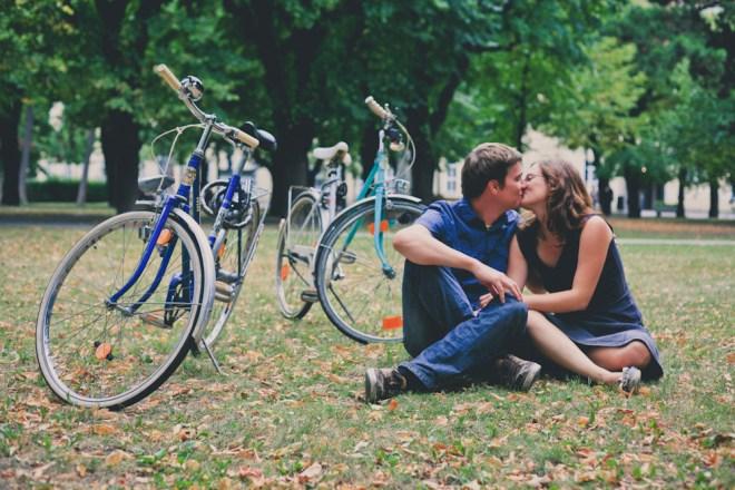 Paar, Liebe, Kuss, Fahrrad