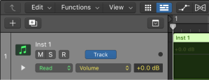 Automation curves displayed for a track