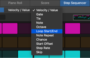 shows the Step Sequencer Edit Mode menu with the 11 possible modes